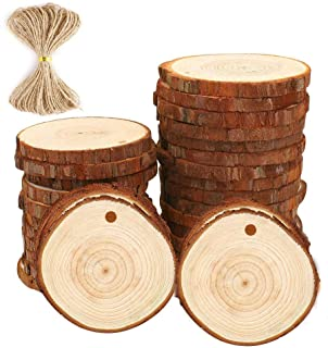 Natural Wood Slices Craft Wood kit Unfinished Predrilled with Hole Wooden Circles Great for Arts and Crafts Christmas Ornaments DIY Crafts (30pcs 2.75