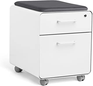 Poppin White Mini Stow File Cabinet with Casters and Pad, White