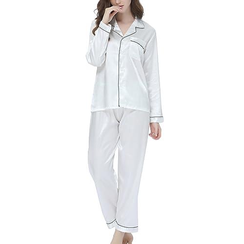 ebb1820835 Women s Pyjama Set Satin Long Sleepwear Nightwear Loungewear