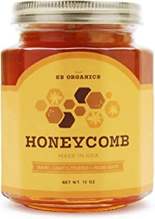 SB Organics Premium Honeycomb Jar - All Natural, Organic, Unfiltered, Raw Honeycomb - Made in USA from Wild Bees - Enjoy Delicious, Sweet, Pure Honey Directly from the Hive - 12 oz. Jar (1 Pack)
