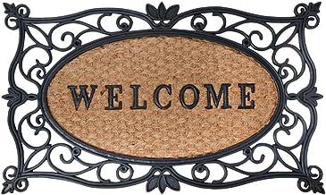 """Esschert Design Vuilvangmat, deurmat met motief """"Welcome"""" in zwart met kokosinlegger, ca. 75 cm x 45 cm"""