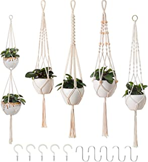 5er Set Makramee Blumenampel, Boho Deko Baumwollseil Hängeampel Blumentopf Pflanzen Halter Aufhänger für Innen Außen Decken Balkone Wanddekoration Beige