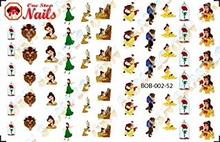 Beauty and the Beast V2. Set of 52 clear waterslide nail art decals (Tattoo).