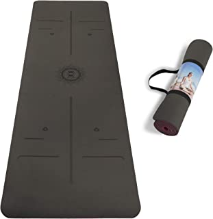 """WWWW TPE Yoga Mat ECO Friendly SGS Certified Non Slip Yoga Mats with Carrying Strap,72""""x24"""" Extra Thick 1/4"""" for Yoga Pila..."""