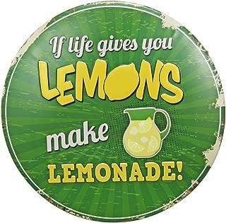NEW DECO Vintage Tin Signs Metal Poster - If Life Gives You Lemons Make Lemonade Retro Round Metal Tin Sign for Shop Bar Home Wall Decor, 12'' Diameter