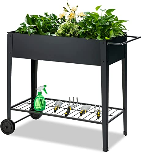 Giantex Raised Garden Bed on Wheels Outdoor Elevated Planter Box with Legs Metal Plant Container for Vegetables Flower Herb (Black)