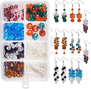 SUNNYCLUE 1 Box DIY 7 Pairs Colorful Faceted Cluster Crystal Beads Dangle Hook Earrings Beaded Linear Drop Earrings Making kit Women Girls Instruction