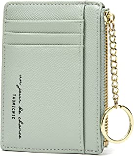 Slim Minimalist Wallets for Men & Women RFID Credit Card Holder Wallet 8 Card Slots with Keychain Ring (Green)