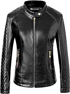 Elonglin Women's Jacket Imitation Leather Vintage Fashion Slim Fit Super-Soft PU Leather Biker Jacket Coat Outwear