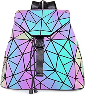 HotOne Geometric Backpack Holographic Reflective Backpacks Fashion Backpack (Luminous Crack Drawstring Backpack)