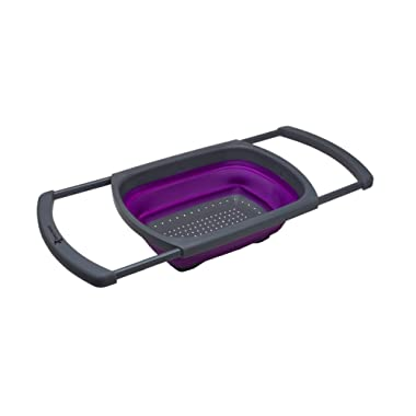Kitchen Candy Collapsible Over the Sink Colander/Strainer, Purple