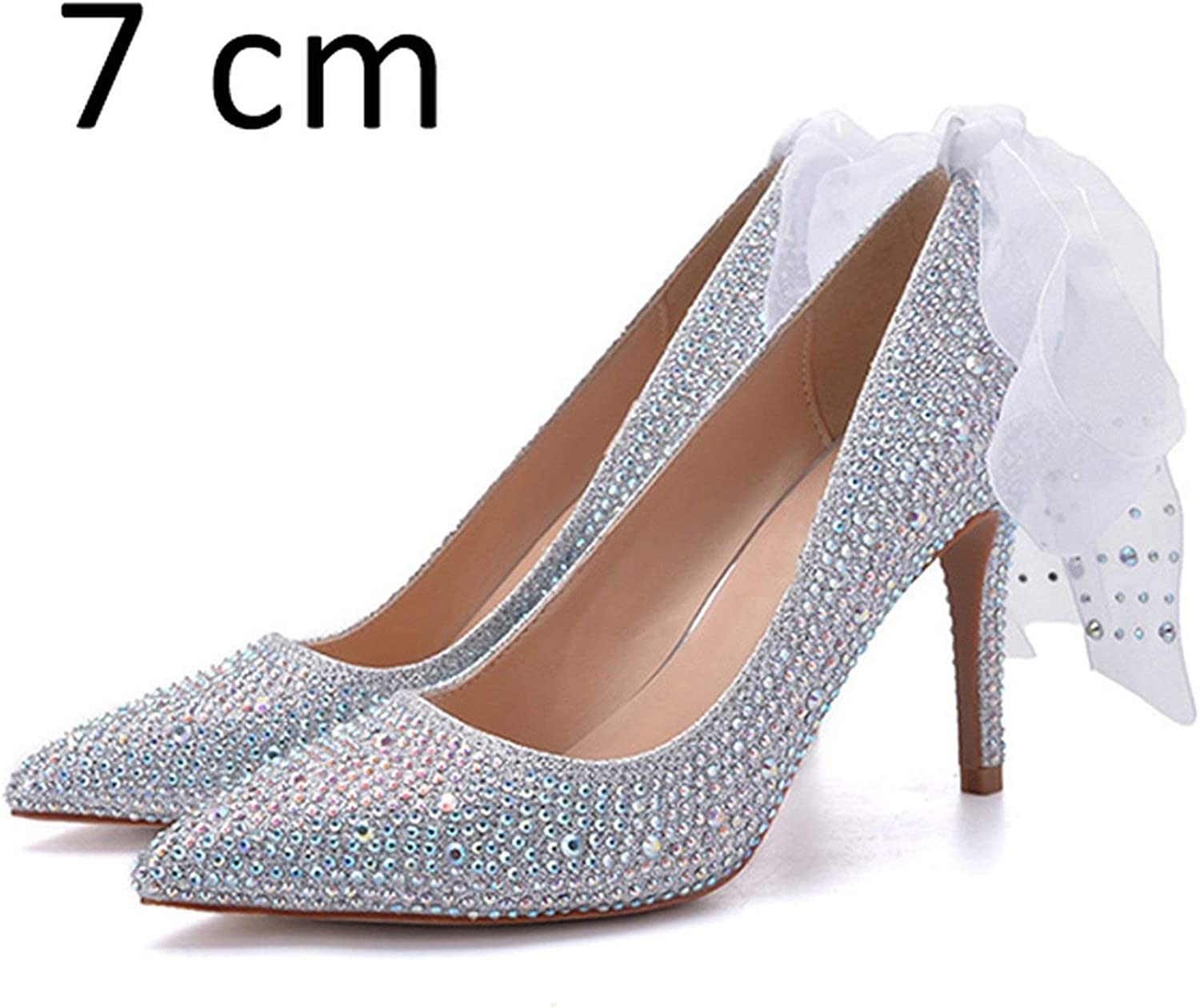 All-About-Us Women Wedding shoes High Heels Luxury Design Women Pumps Rhinestone Pointed Toe Spring Summer Brand Cinderella shoes Party DE