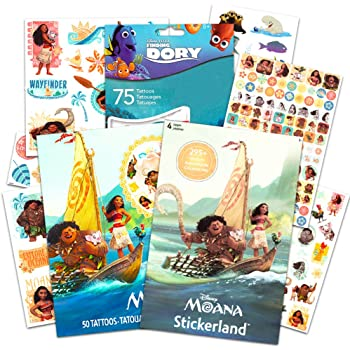Disney Moana Stickers 295 count and Large Temporary Tattoos