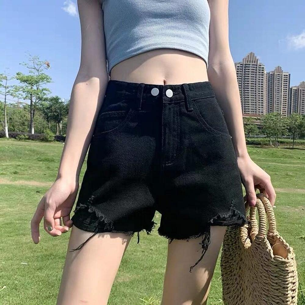CDDKJDS Denim Shorts Women Vintage Chic Ins Summer College All-Match Teens Short Trouser Popular Wide-Leg High Waisted Women S Clothing (Color : B-Black, Size : XXL)