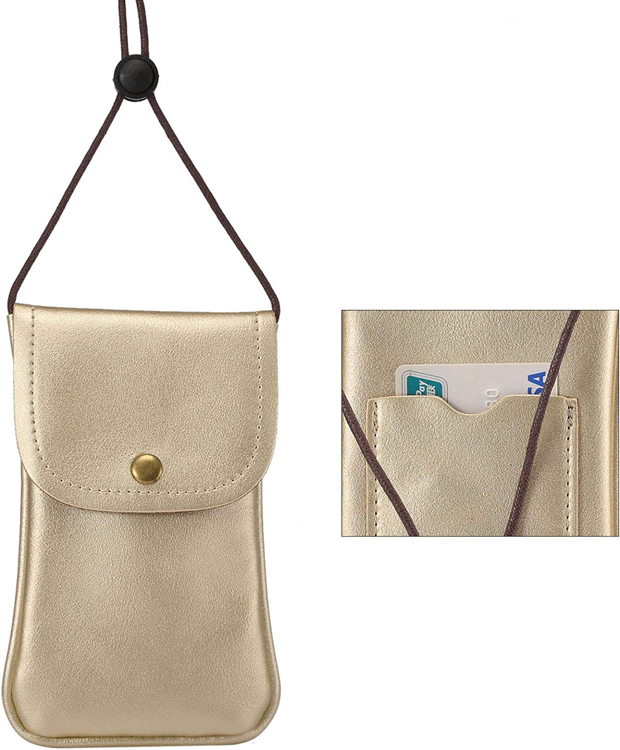 Cell Phone Neck Pouch, Techcircle PU Leather Carrying Bag with Credit Card Holder Adjustable Strap, Small Travel Purse for iPhone 11 XR XS Max SE 8 7 6 Plus, Galaxy S10 S7 Edge A10 J7, Moto G6 (Gold)