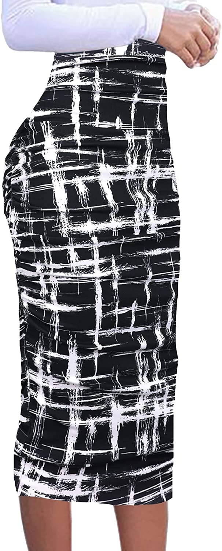 Vfshow Womens Elegant Ruched Ruffle High Waist Casual Pencil Midi Mid-Calf Skirt