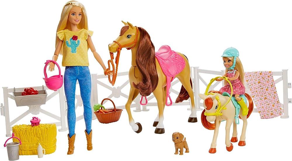 Barbie , ranch di barbie e chelsea, playset giocattolo con due bambole, cavalli e accessori GLL70