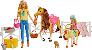Barbie Hugs 'N' Horses Playset with Barbie and Chelsea Dolls, 2 Horses and 15+ Accessories FXH15