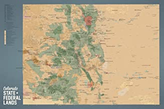 Best Maps Ever Colorado State Parks & Federal Lands Map 24x36 Poster (Camel & Slate Blue)