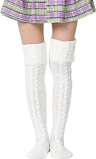 BestTas, Calcetines altos para mujer, botas largas, de punto, calcetines de ganchillo, por encima de la rodilla, calcetines cálidos de invierno
