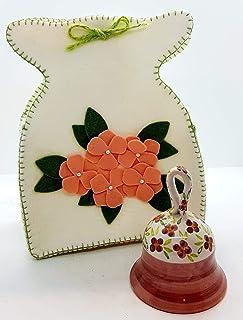 Campanella in Ceramica Linea Fiori Rosa + Sacchetto in feltro artigianale a scelta Pezzo Unico - Handmade Le Ceramiche del...
