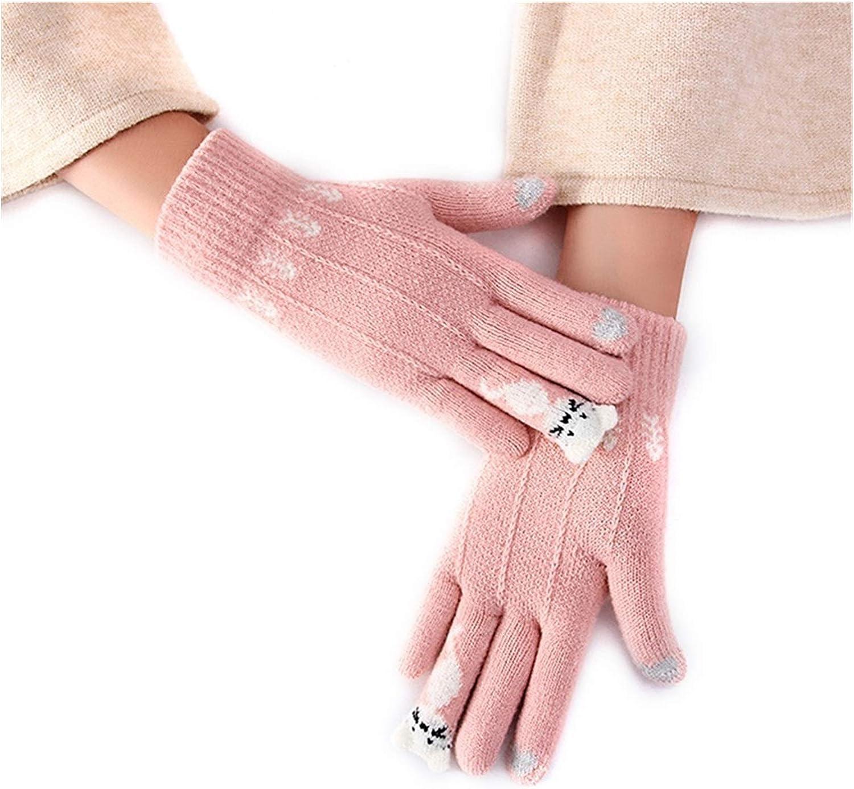 JBIVWW Winter Touch Screen Gloves Women Men Warm Stretch Knit Mittens Imitation Wool Full Finger Guantes Female Crochet Thicken (Color : A)