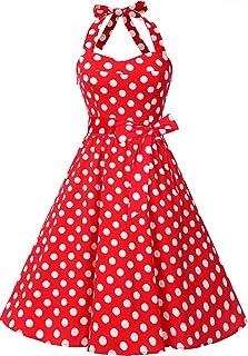 13250f8754afb Topdress Women'sVintage Polka Audrey Dress 1950s Halter Retro Cocktail Dress