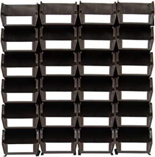 Triton Products LocBin 3-210BRWS Wall Storage Unit with Interlocking Poly Bins Wall Mount Rails 8-3/4-Inch L and Hardware, 24-Count, Brown, 26-Piece