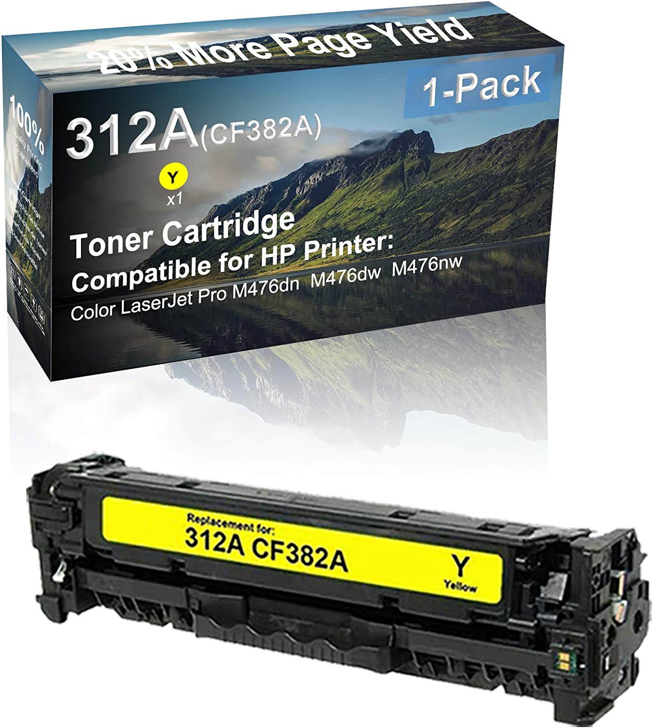 1-Pack (Yellow) Compatible High Capacity 312A (CF382A) Toner Cartridge use for HP M476dn M476dw M476nw Printer