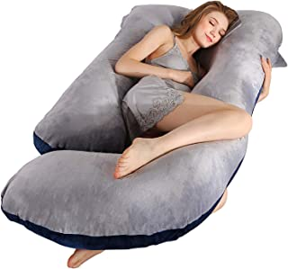 BATTOP Full Body Pregnancy Pillow G-Shaped Maternity Pillow Removable for Sleeping with Nursing Baby Design Support for Back Belly Hips Legs (Gray & Navy Blue)