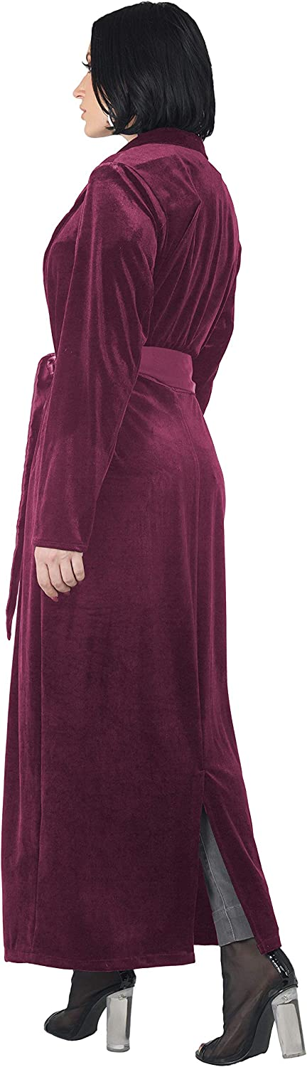 Standards /& Practices Womens Velvet Wrap Satin Belt Midi Coat Dress