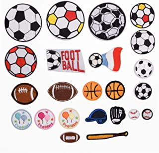 23 Pieces Ball Sports Games Iron on Patch Applique Motif Fabric Children Football Baseball Basketball Rugby Soccer Embroidered Appliques Iron on Patches for Kids Jeans Decoration Clothing Repair