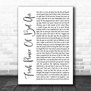 Fresh Prince of Bel-Air White Script Song Lyric Quote Music Poster Gift Present Art Print