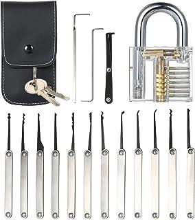 pedkit 15pcs Lock Picking Set Kit Tool with Transparent Practice Training Padlock Lock for Locksmith Beginners and Profess...