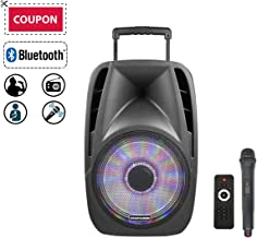 STARQUEEN 12Inch Portable Bluetooth PA Audio Speaker System with Wireless Handheld Microphone, Mic/Guitar Jack, USB/SD/FM Radio Function, Telescoping Handle & Wheels, Black