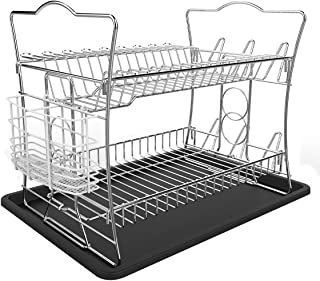 IZLIF 2-Tier Chrome Finish Dish Drying Rack Set and Drainboard with Removable White Utensil Holder