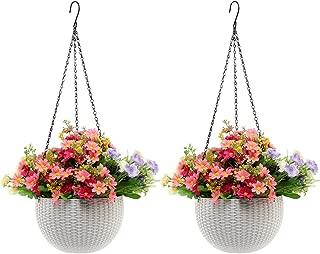 Hanging Planter 2 Pack -YIKUSH 8.66 in Round Decor Garden Rattan Plastic Flower Pot Basket for Plant,White