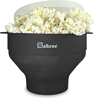 Original Salbree Microwave Popcorn Popper, Silicone Popcorn Maker, Collapsible Bowl - The Most Colors Available (Black)