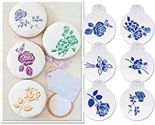 "ART Kitchenware 6pcs Roses Cookie Stencils Set for Wedding Cake Stencils Valentine's Day Plastic Stencils for Airbrush Decoration Mold 4.53"" ST-904"