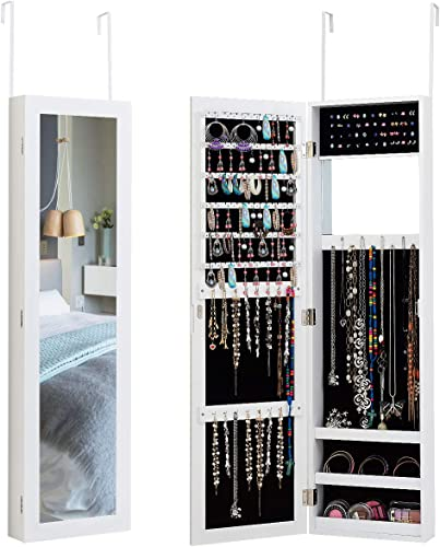 high quality Giantex Wall Door Mounted Mirrored Jewelry Cabinet Jewelry 2021 Armoire sale Storage Organizer with Full Length Mirror Jewelry Cabinets (White) online