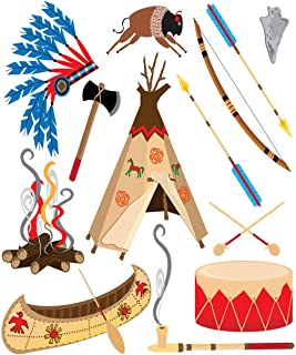 Eaiizer Poster Wall Art Print Cowboy American Indian Clipart and White Teepee Arrowhead Drum 18x24 Inches Artwork for Home Bedroom Decor