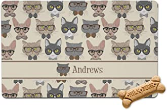 RNK Shops Hipster Cats Pet Bowl Mat (Personalized)