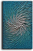 YaSheng Art - Contemporary Art Oil Painting on Canvas 3D Metallic Blue and Silver Texture Abstract Art Pictures Canvas Wal...