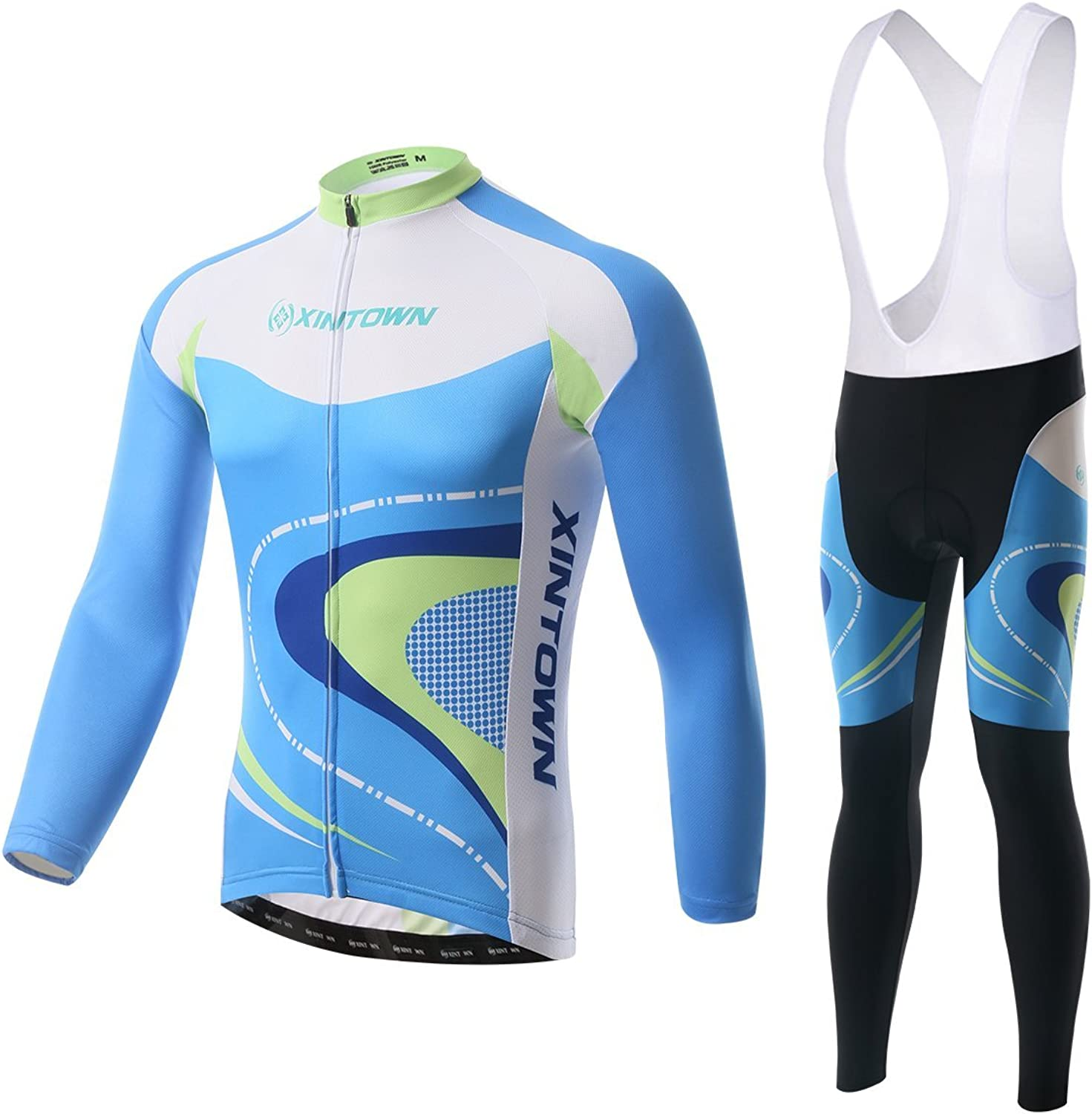 BESYL Unisex Printed HighPerformance Mesh Cycling Clothing Suit, Breathable Long Sleeve Cycling Jersey and Bib Padded Pants Kit for Bicycle Bike Riding Biker (Skybluee White Light Green Darkbluee)