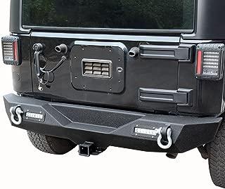 LEDKINGDOMUS Rear Bumper for 07-18 Jeep Wrangler JK and JK Unlimited with 2x LED Lights & 2