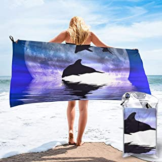 ビーチタオル スーパーソフト スイムタオル マイクロファイバー バスタオル 160x80CM 月のイルカ 旅行 超吸水 砂がつかない 防砂 大判 薄型 大きい 軽量 コンパクト ヘアタオル 速乾