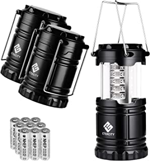 Etekcity LED Camping Lantern Portable Flashlight with AA Batteries - Survival Kit for Emergency, Hurricane, Power Outage, CL10 (Black, Collapsible) (3 Pack)