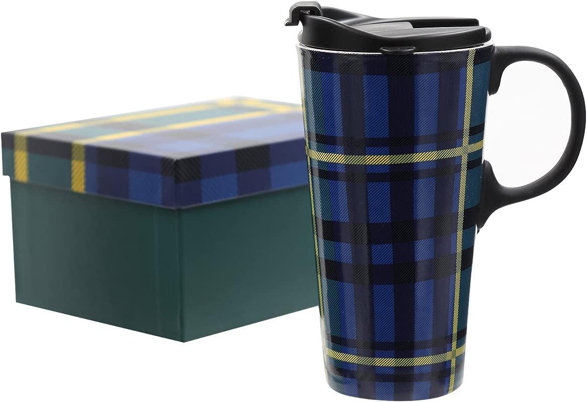 CEDAR HOME Travel Coffee Ceramic Mug Porcelain Tea Cup With Lid Gift Box 17oz Blue