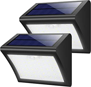 Luces Solares Jardín,Yacikos 60LED Focos Solares 1800mAh Lámparas Solares Exterior con Sensor de Movimiento, Luz de Pared Solar Segura Impermeables con 3 modos para Jardín,Patio,Camino-2 Paquetes