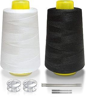 ミシン糸 60番手 ポリエステル (2個セット) [ ミシン針 + ボビン も付属しております ] ミシン 糸 セット 【phoenixJ】 (白・黒)